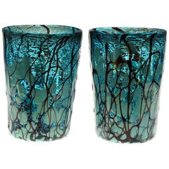 Amadi, Set of Two Tumblers, Murano Acquamarine with Relief Design, Silver Leaf