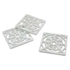 Amalfi Coaster in White Carrara Marble by Pieruga Marble made in Italy