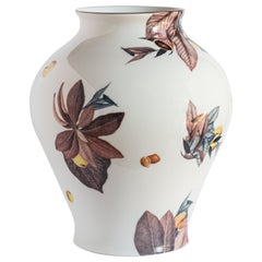 Amalfi, Contemporary Porcelain Vase with Decorative Design by Vito Nesta