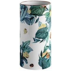 Amalfi, Contemporary Porcelain Vase with Decorative Design by Vito Nesta