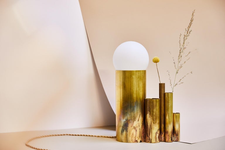 Modern Amalgam Brass Table Lamp Signed by Pia Chevalier For Sale