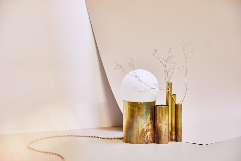 Amalgam Brass Table Lamp Signed by Pia Chevalier In New Condition For Sale In Collonge Bellerive, Geneve, CH