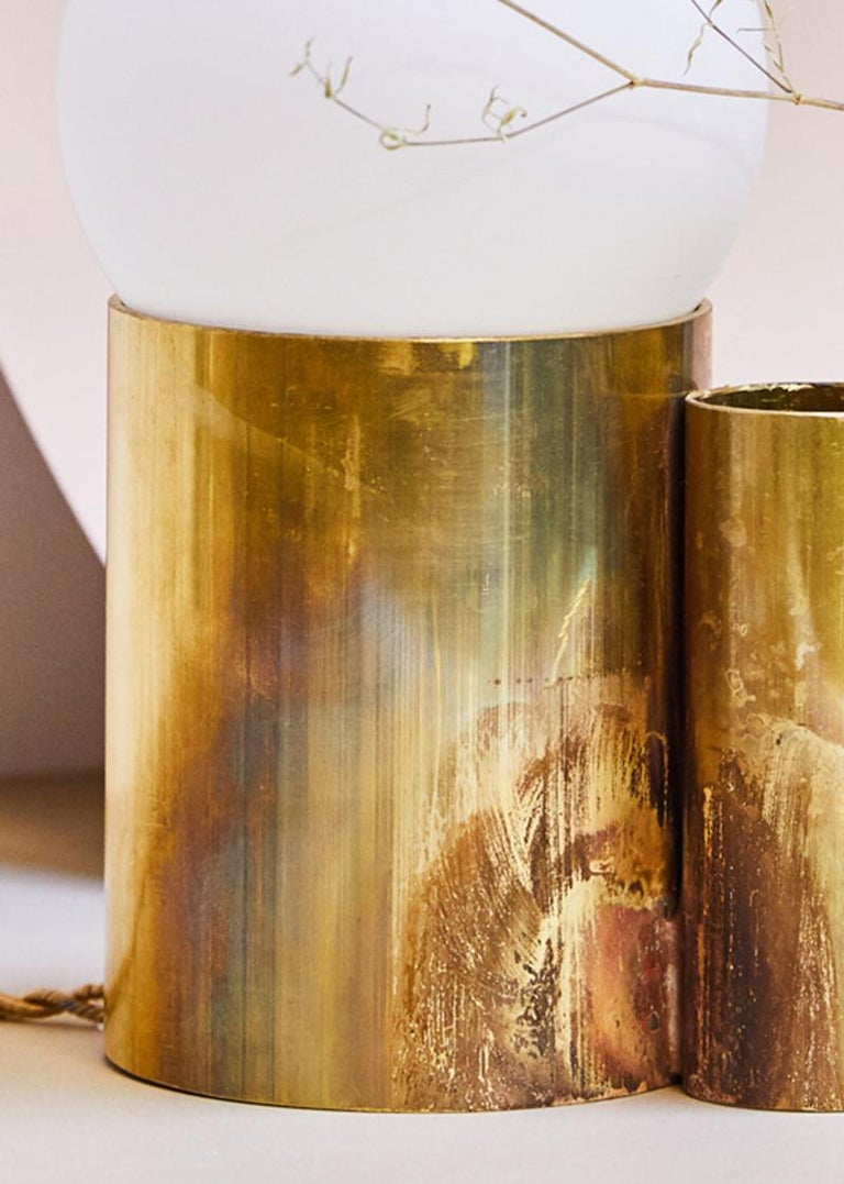 Contemporary Amalgam Brass Table Lamp Signed by Pia Chevalier For Sale