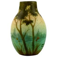 Amalric Walter for Nancy, Rare Vase in Ceramics with River Landscape