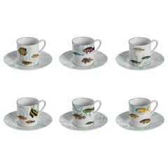 Amami, Coffee Set with Six Contemporary Porcelains with Decorative Design