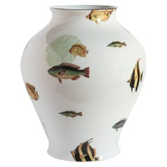 Amami, Contemporary Porcelain Vase with Decorative Design by Vito Nesta