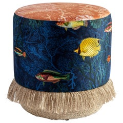 Amami, Contemporary Printed Velvet and Natural Strew Pouf by Vito Nesta