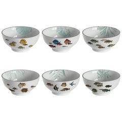 Amami, Six Contemporary Porcelain Bowls with Decorative Design