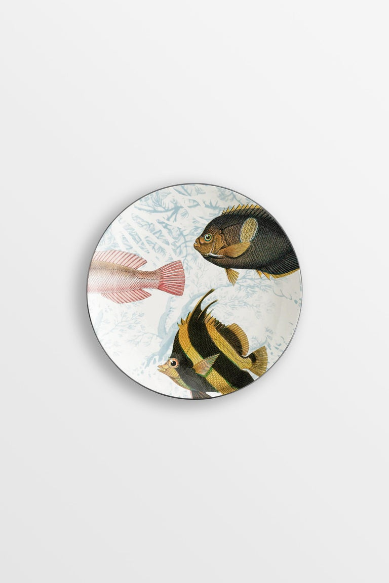 Amami, Six Contemporary Porcelain Dessert Plates with Decorative Design For Sale 1