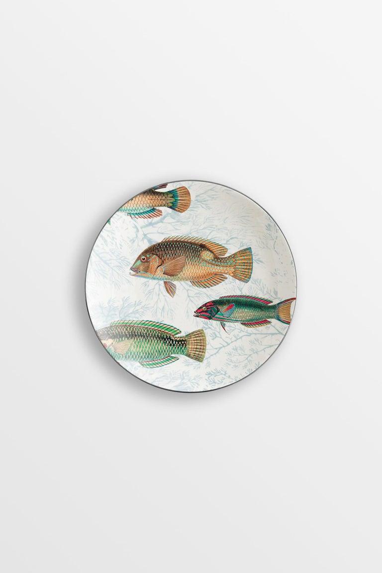 Amami, Six Contemporary Porcelain Dessert Plates with Decorative Design For Sale 2