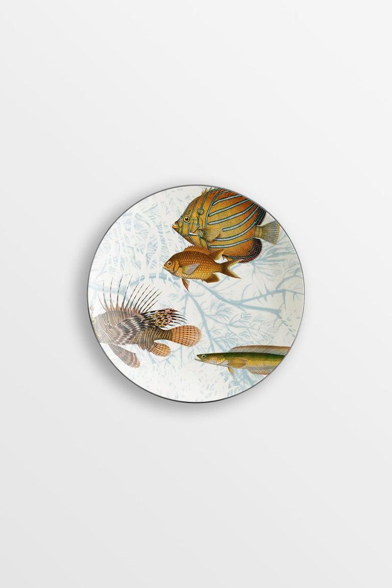 Amami, Six Contemporary Porcelain Dessert Plates with Decorative Design For Sale 3