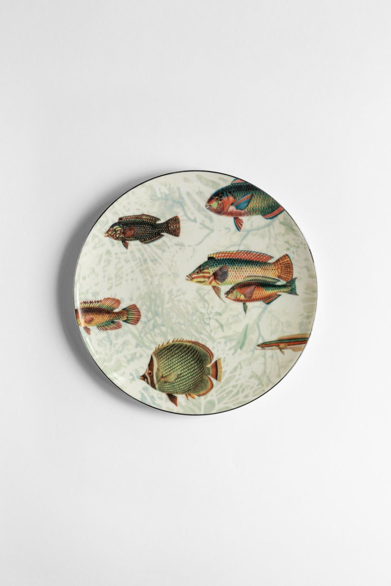 Amami, Six Contemporary Porcelain Dinner Plates with Decorative Design In New Condition For Sale In Milan, IT