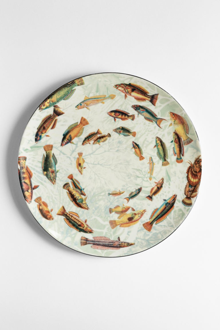 Amami, Six Contemporary Porcelain Dinner Plates with Decorative Design For Sale 2