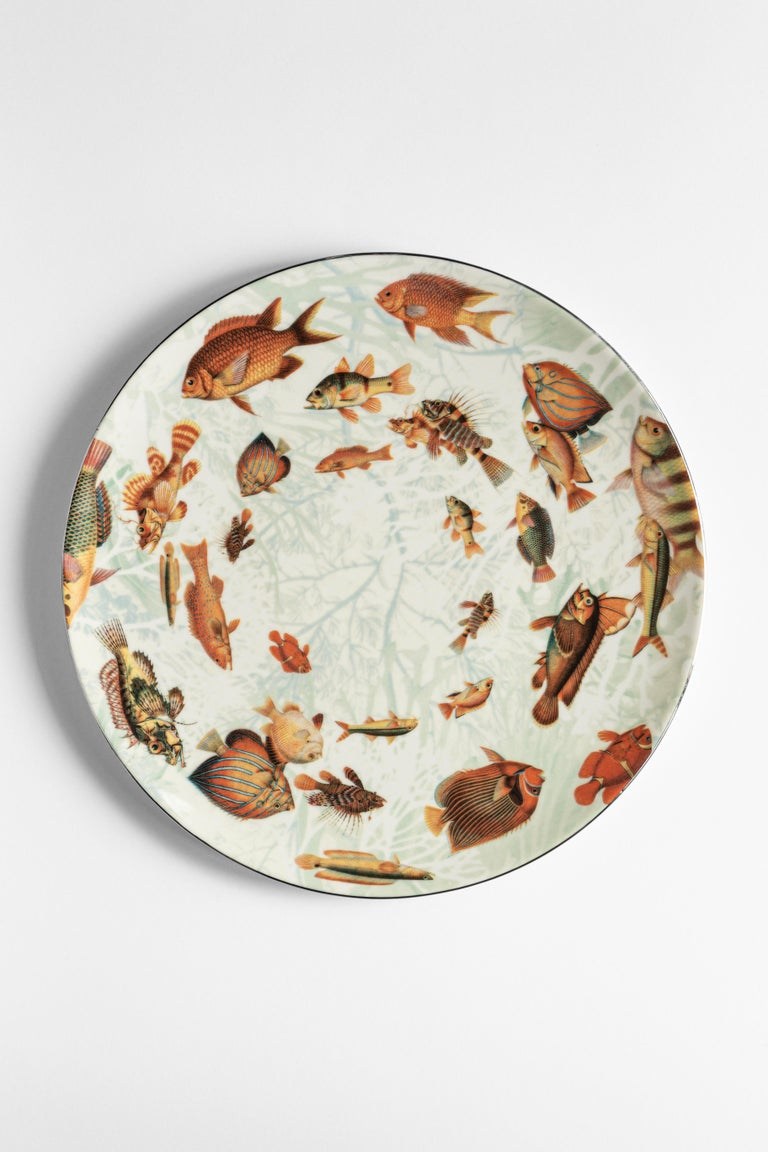 Amami, Six Contemporary Porcelain Dinner Plates with Decorative Design For Sale 3