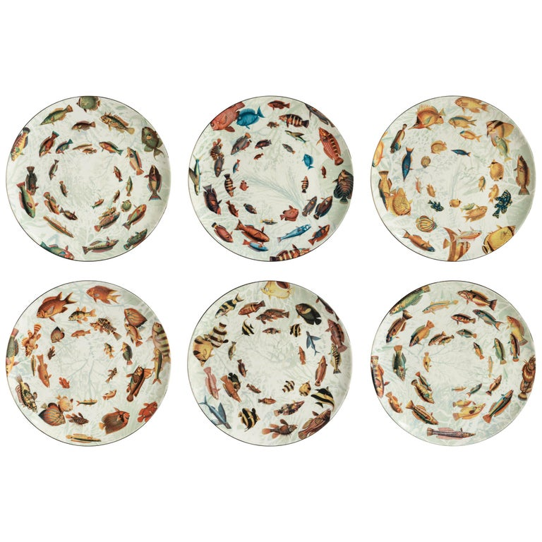Amami, Six Contemporary Porcelain Dinner Plates with Decorative Design For Sale