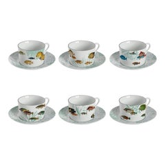 Amami, Tea Set with Six Contemporary Porcelains with Decorative Design