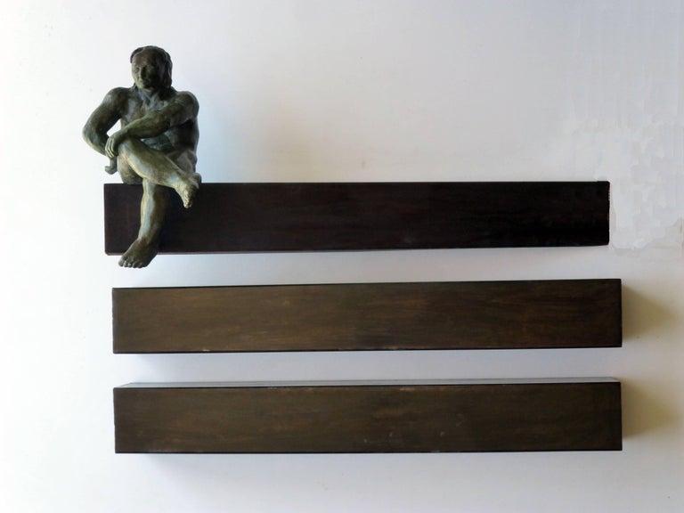 "Amancio González Andrés Abstract Sculpture -  "" THE WORKER OF CONSTRUCTION"" original bronze iron sculpture"