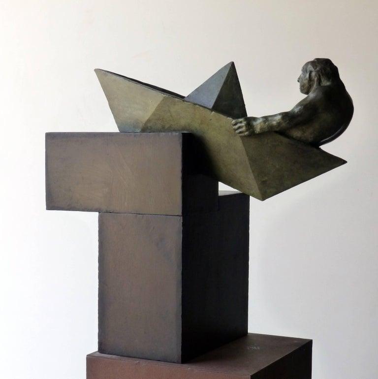 Amancio González Andrés Figurative Sculpture - argonauta original bronze iron sculpture