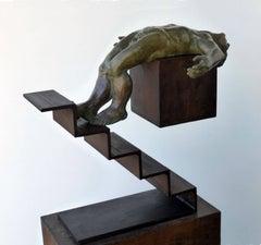ICARO III. original sculpture iron bronze