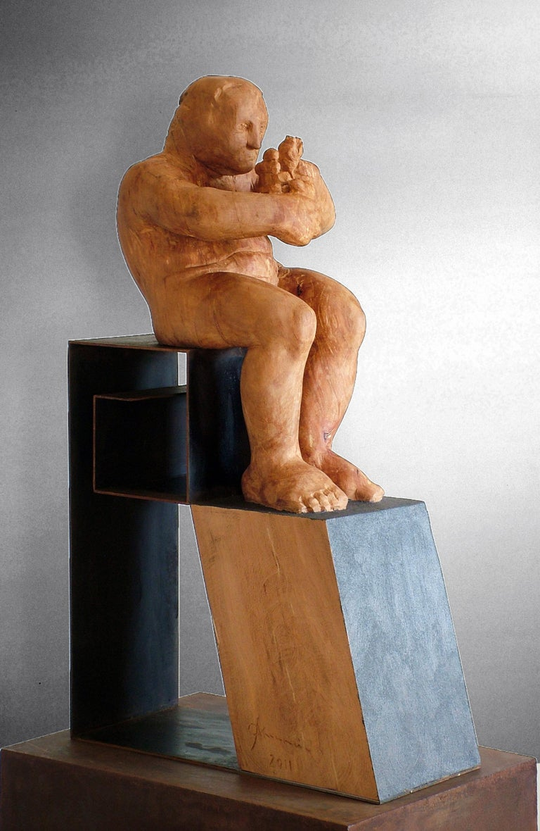 L´homme amoureux V. original wood sculpture For Sale 1