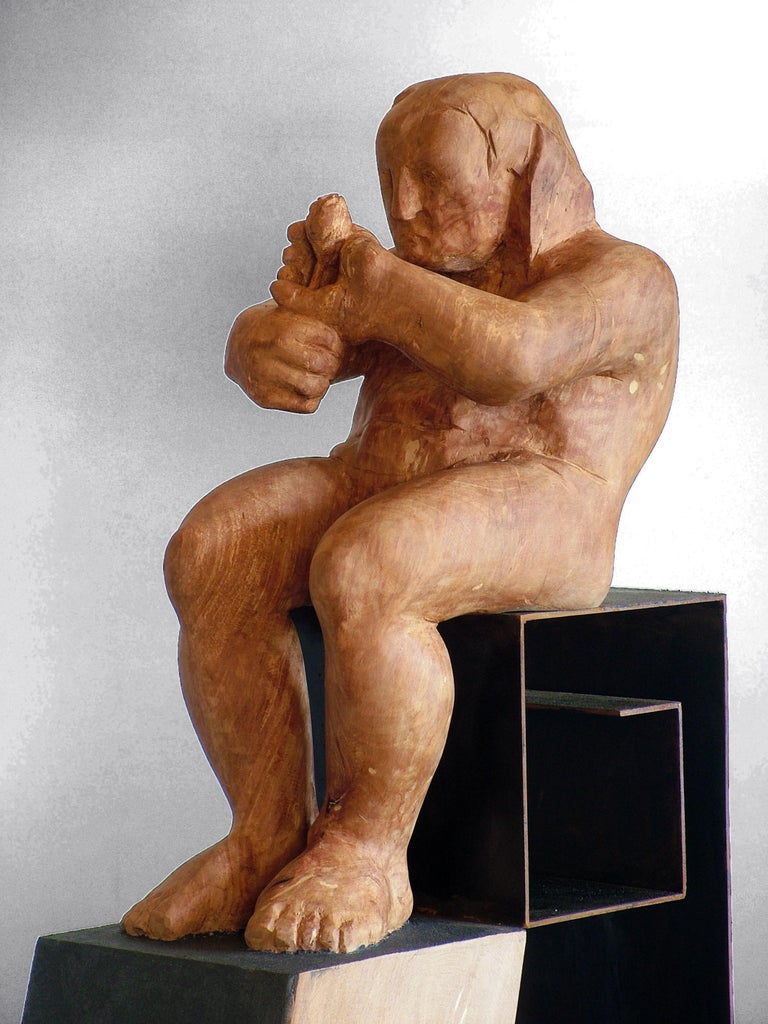 L´homme amoureux V. original wood sculpture For Sale 3