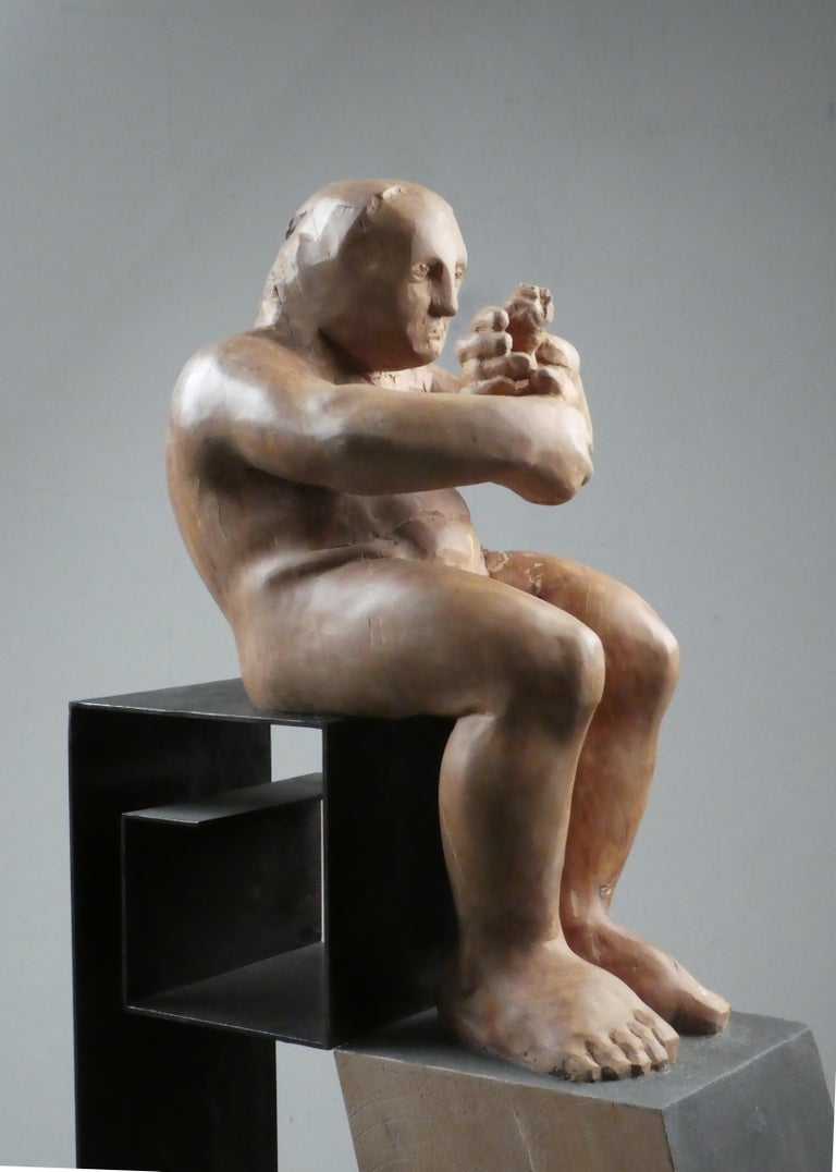 L´homme amoureux V. original wood sculpture For Sale 4