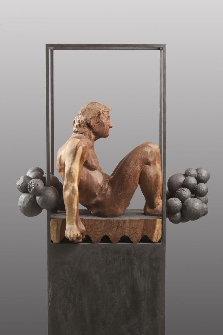 Niebla. iron and wood. original  sculpture - Sculpture by Amancio González Andrés