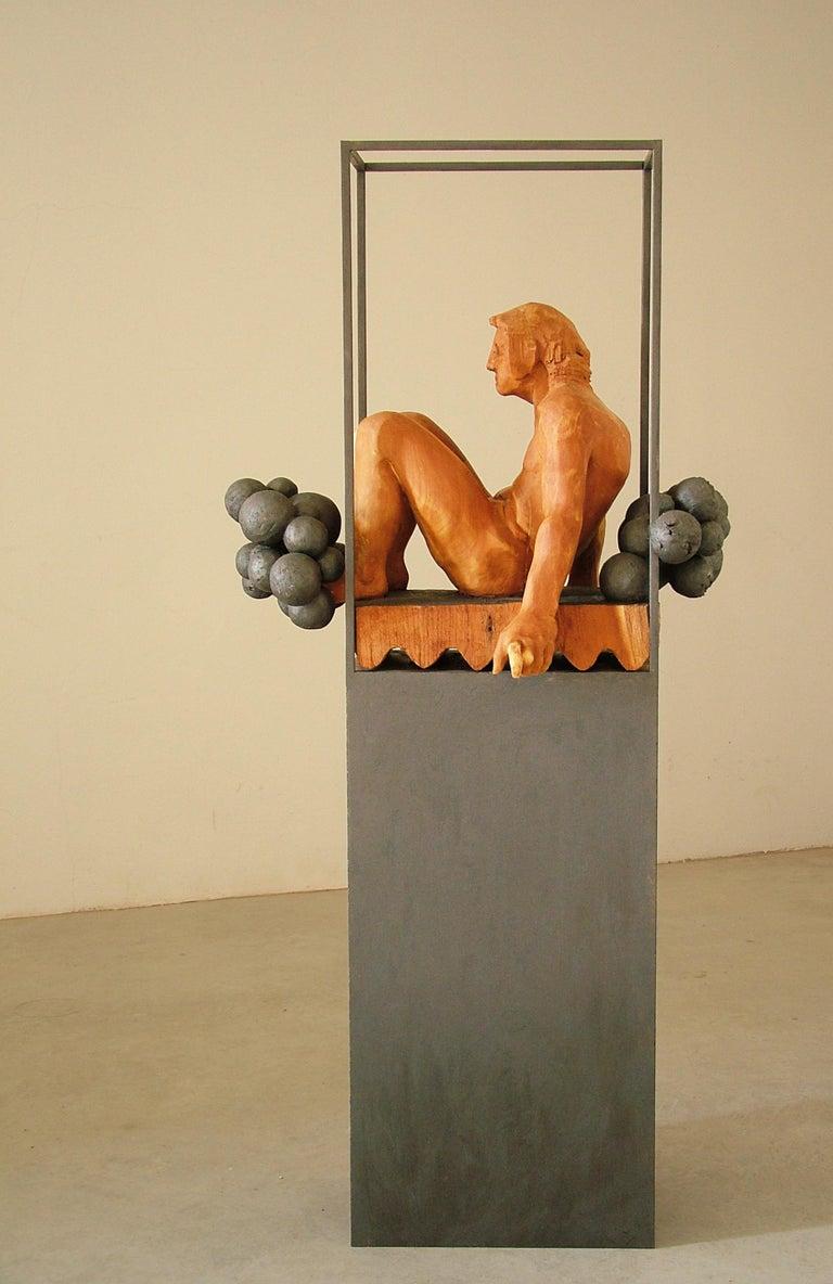 Niebla. iron and wood. original  sculpture - Contemporary Sculpture by Amancio González Andrés