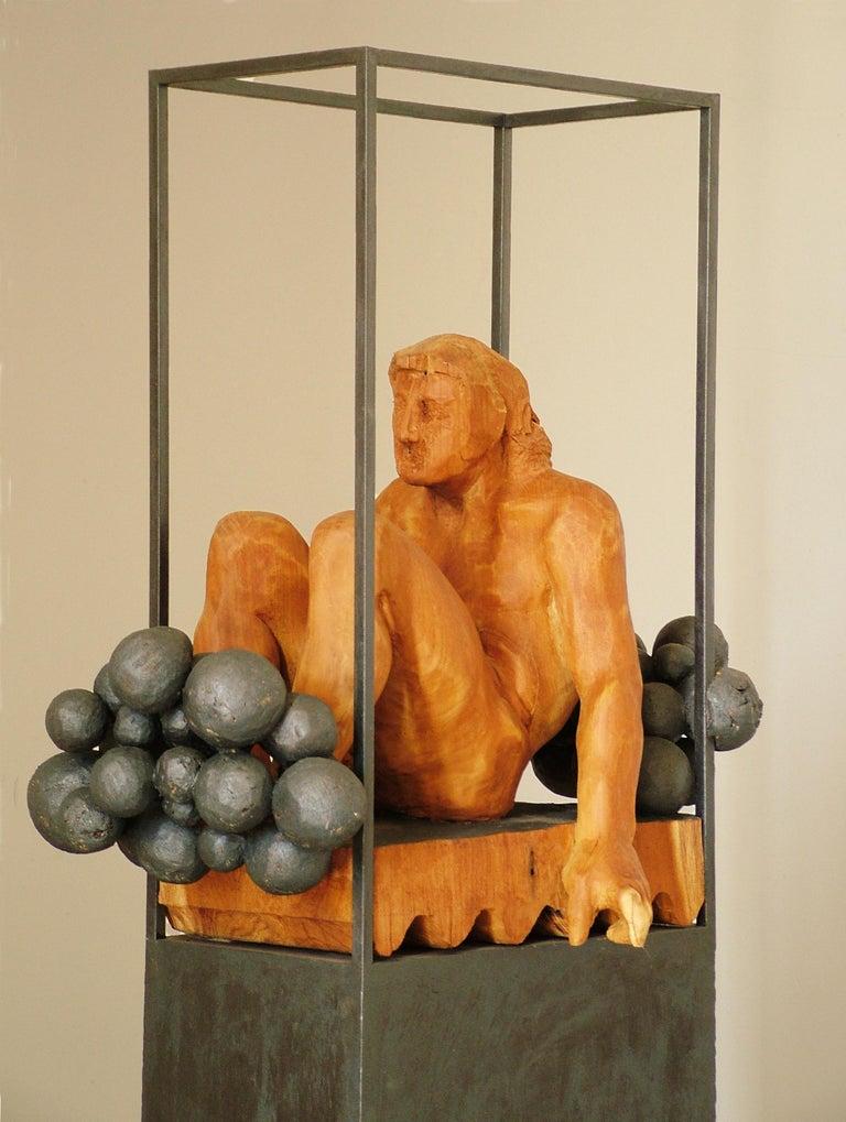 Niebla. iron and wood. original  sculpture For Sale 1