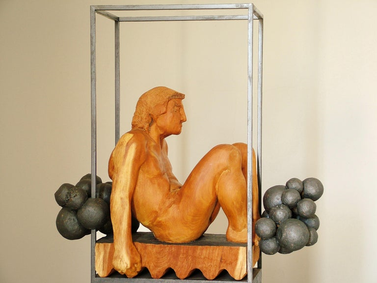 Niebla. iron and wood. original  sculpture For Sale 3