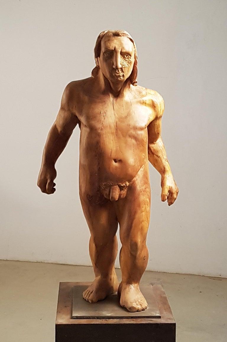 Perseo. wood. original  sculpture - Sculpture by Amancio González Andrés