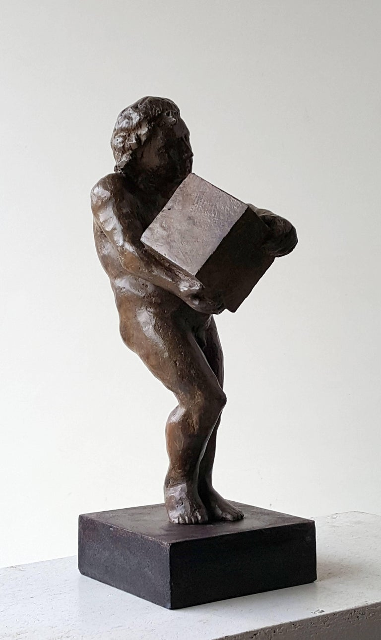 The First rock- original sculpture bronze iron.  - Sculpture by Amancio González Andrés