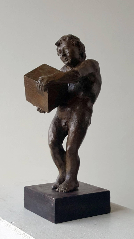 The First rock- original sculpture bronze iron.  - Contemporary Sculpture by Amancio González Andrés