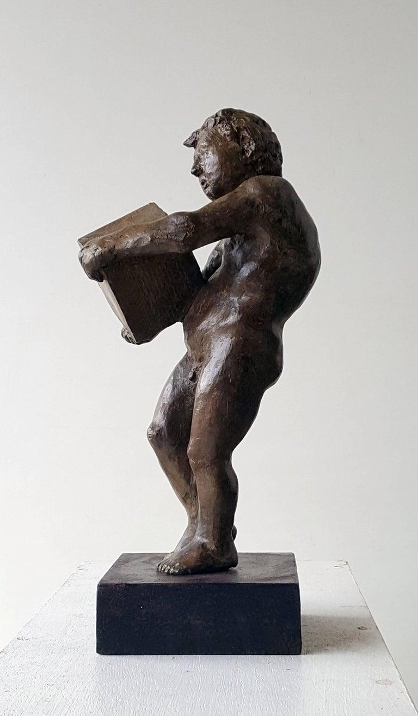 Amancio González Andrés Abstract Sculpture - The First rock- original sculpture bronze iron.
