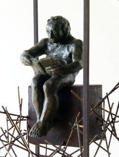 THE READER - original bronze iron sculpture