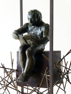 THE READER - original bronze iron sculpture
