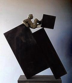 DECONSTRUCCION III. original sculpture bronze iron