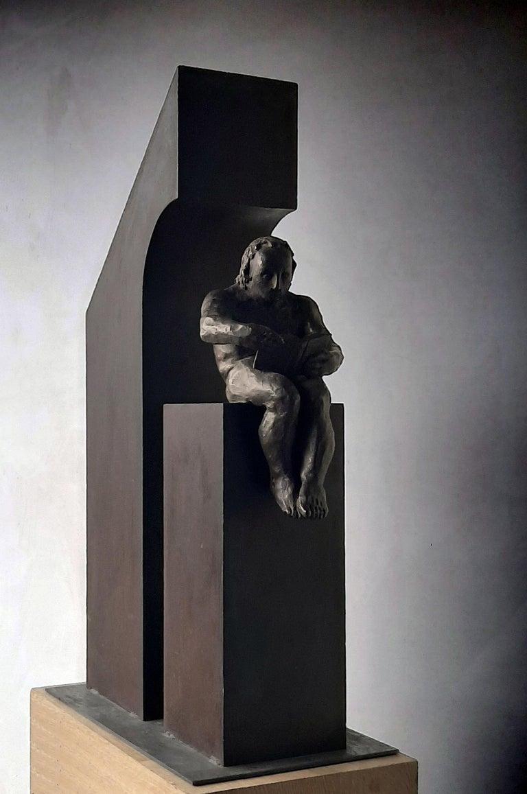 la casa II. original sculpture iron bronze - Gold Abstract Sculpture by Amancio Gonzalez Morera