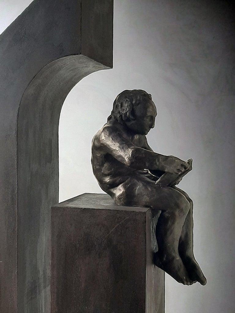 Amancio Gonzalez Morera Abstract Sculpture - la casa II. original sculpture iron bronze