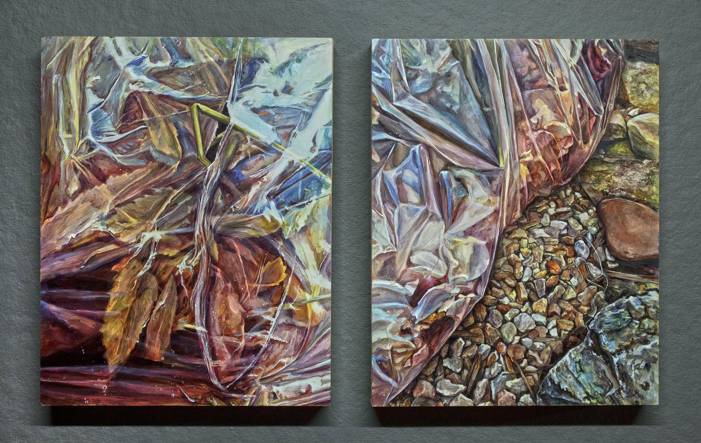Conceptual Realist Painting Diptych Floral Colorful American female artist
