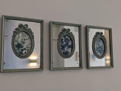 A Set of 6 Contemporary Cyanotypes in Mirrored Frames Blue White Female Artist
