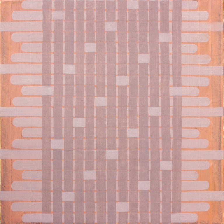 """""""Delicate"""" is a geometric woven abstract painting featuring pink, purple and orange hues. Amanda Brazier creates handmade oil paints from locally harvested earth pigments. She is inspired by the work of Agnes Martin and Anni"""