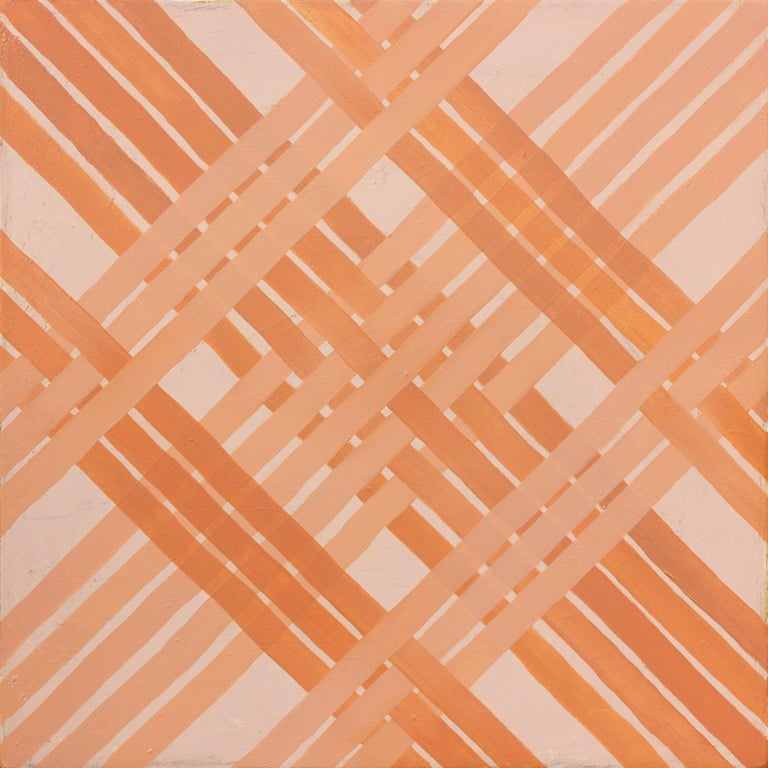"""""""Firstborn"""" is a geometric woven abstract painting featuring orange hues. Amanda Brazier creates handmade oil paints from locally harvested earth pigments. She is inspired by the work of Agnes Martin and Anni Albers.  Chattanooga-based painter,"""