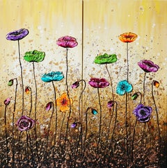 Effervescent Poppies, Painting, Acrylic on Canvas