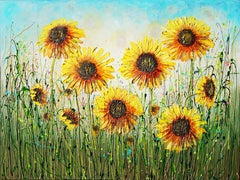 Sunflowers Basking in the Sun, Painting, Acrylic on Canvas