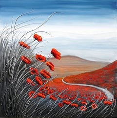 The Walk through the Poppies, Painting, Acrylic on Canvas