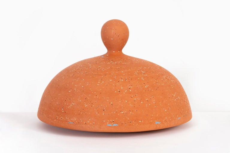 """""""Pedestrian"""" is a 2018 terracotta with rainbow beach aggregate and mason stained earthenware slip sculpture by Amanda Gentry.   Amanda Gentry's work is the merger of a technical and emotional ceramicist. Infusing each work with impeccable craft to"""