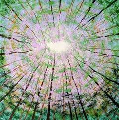 Amanda Horvath, Forest Sky Light, Original Woodland Painting, Affordable Art