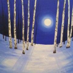 Amanda Horvath, Midnight Silver, Original Painting, Contemporary Art
