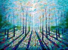 Amanda Horvath, Rainbow Forest, Original landscape, acrylic on canvas